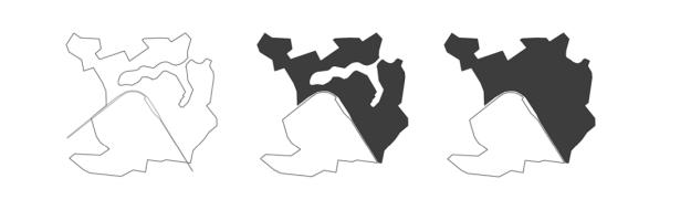 Forma Urbis di Brindisi: a) la ferrovia separa la città in due aree di estensione equivalente; b) campitura del settore nord, mettendo in rilievo il porto antico; c) settore nord, campito prescindendo dalla morfologia del porto antico